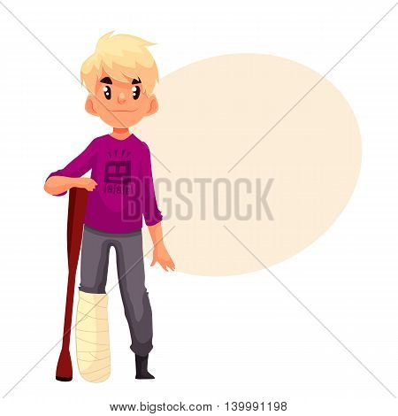 Little boy with a broken leg and a crutch, cartoon style vector illustration isolated on white background. Cute blond kid with a plastered leg standing and resting on a crutch