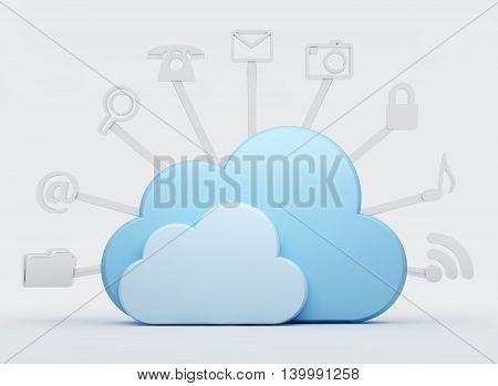 Cloud computing storage, data storage. 3d illustration.
