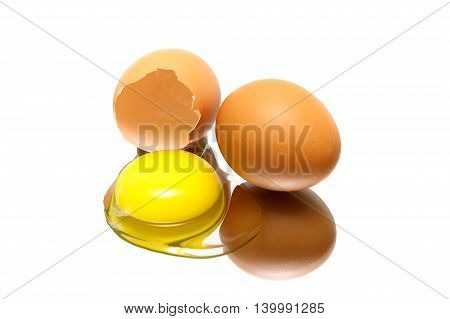 eggs on a white background with reflection closeup. horizontal photo.