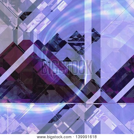 Abstract relief background of blue, purple and pink blocks and light reflections. Polygonal futuristic background of prisms, polygonal shapes and spectral rays