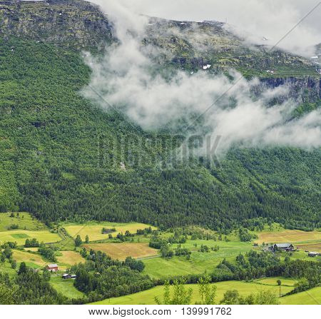 Beautiful Panoramic View On Norway Mountain Landscape