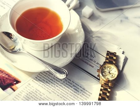 Tea Break Relax Chill Newspaper Concept