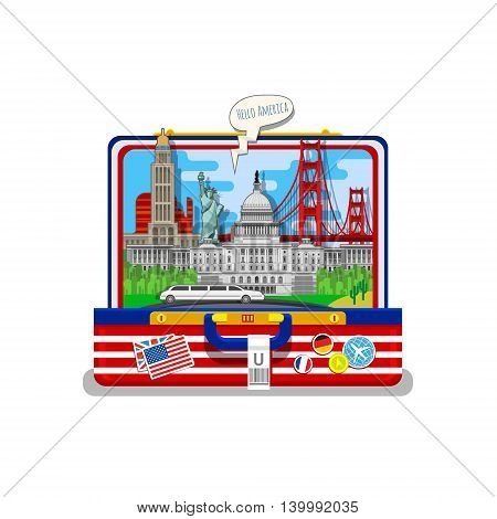 Concept of travel or studying English. American flag with landmarks in open suitcase. Flat design, vector illustration