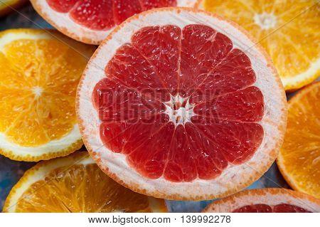 Grapefruit in the cut. Texture units of grapefruit