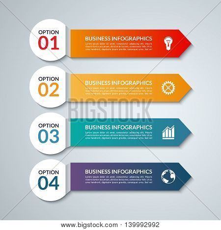 Infographic options banner with 4 arrows, steps, parts. Vector colorful template, what can be used for workflow layout, diagram, chart, report presentation, step by step infographics, web design.