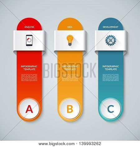 Infographic template with 3 options, steps, parts, circles, vertical bars. Vector banner with the set of flat icons and design elements. Can be used for graph, chart, diagram, report, web design