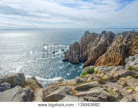 rocky coastal scenery around Pointe de Pen-Hir at the Crozon peninsula in Brittany France