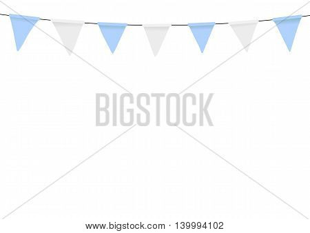 Oktoberfest decoration. Flags decorated in traditional colors of Bavaria.