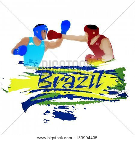 Illustration of Boxing Players on white background for Games concept.