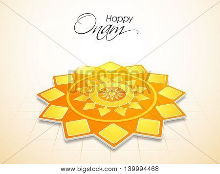 South Indian Festival, Happy Onam celebration with glossy creative rangoli.