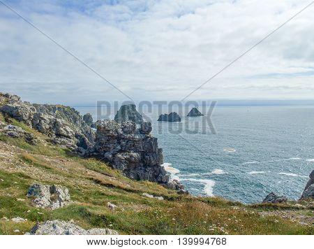 rocky coastal scenery around Pointe de Pen-Hir at the Crozon peninsula in Brittany France