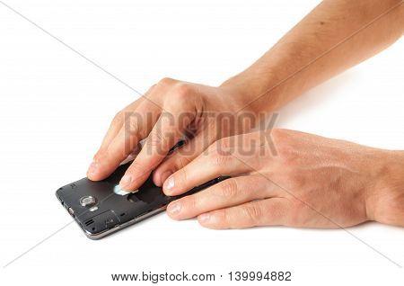 Male Hands Fix Phone Sim Card