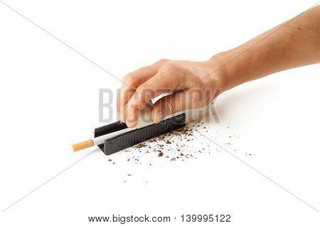 Male Hands Stuffed Tobacco Into Cigarettes