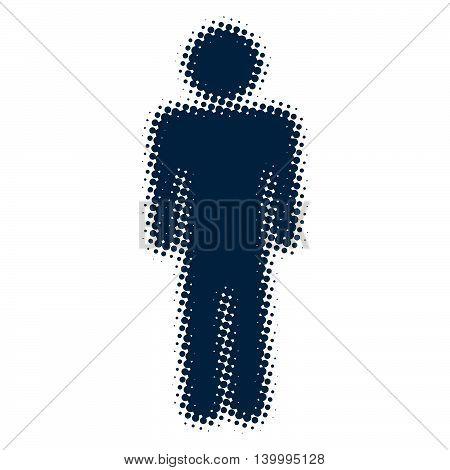 male icon blue blurred silhouette of a man, pop art retro vector illustration