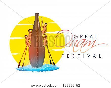 Creative illustration of boat race on abstract background for South Indian Festival, Great Onam celebration.