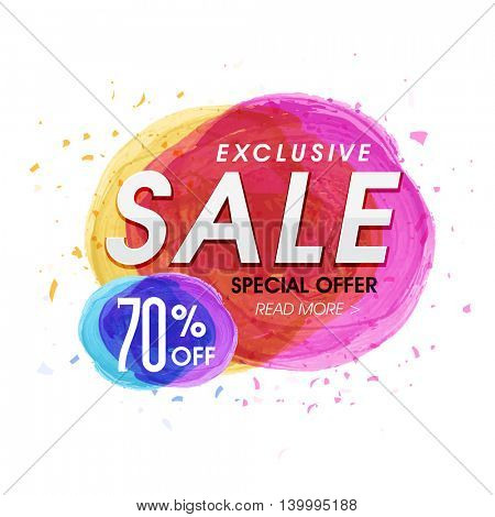 Exclusive Sale with 70% Special Offer, Creative Poster, Banner or Flyer with colorful abstract paint stroke. Vector illustration.
