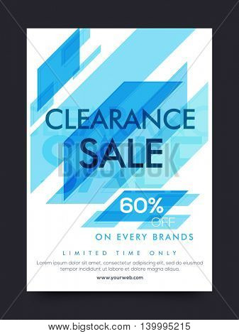 Clearance Sale Poster, Sale Banner, Sale Flyer, 60% Off on every brands, Limited Time Sale, Creative Sale Background with abstract design, Sale vector illustration.