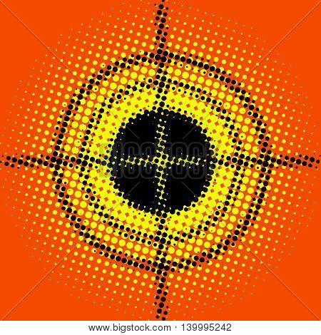 Target blurred pop art retro vector illustration. Goal, shooting