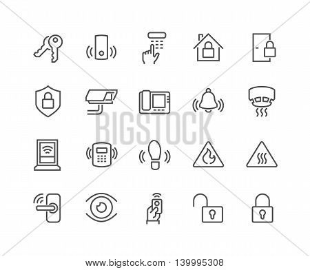 Simple Set of Home Security Related Vector Line Icons. Contains such Icons as Door Handle, Lock, Cam, CCTV, Remote and more. Editable Stroke. 48x48 Pixel Perfect.