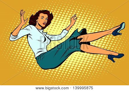 The woman falls down pop art retro vector illustration. Free fall, suicide