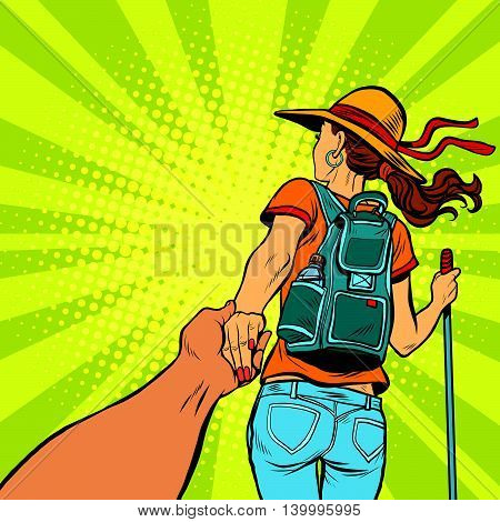 Follow me, young woman traveler with a travel backpack pop art retro vector illustration