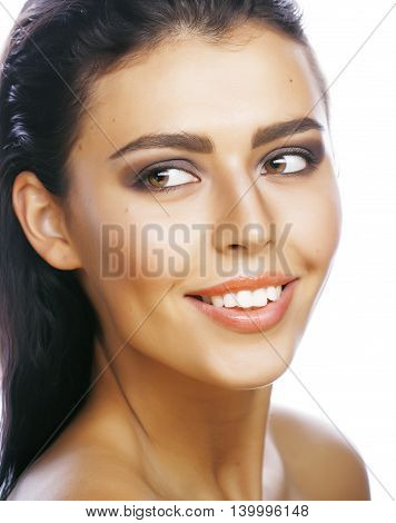 perfect beauty real brunette woman isolated on white background smiling close up spa makeup macro