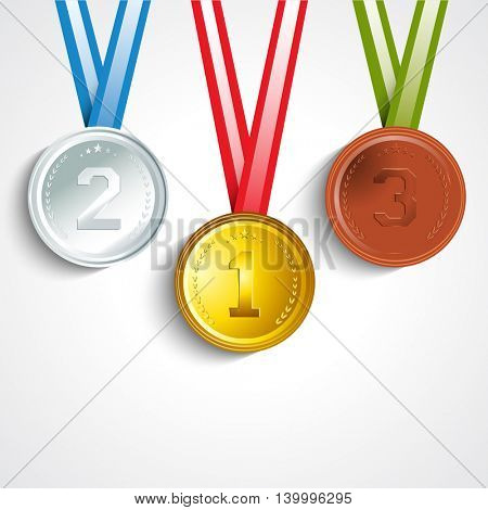 Glossy Gold, Silver and Bronze Medals with Ribbon showing First, Second and Third Place in Sport Competition, Concept for Games.