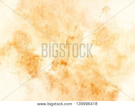 Orange yellow background - soft watercolor texture - abstract coffee stains