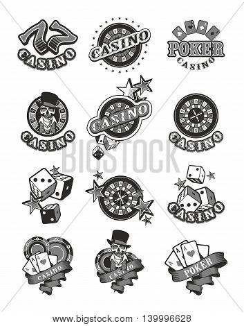 set of vector icons and posters on the theme of casino isolated black and white