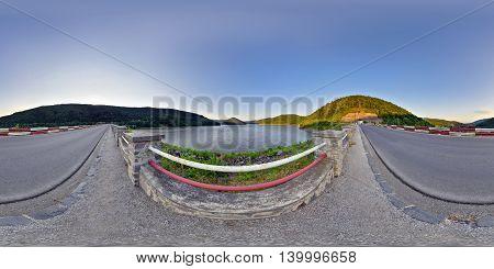 360 panorama Zetea Reservoir at sunset in Zeteváralja (Sub Cetate), Harghita County, Transylvania, Romania