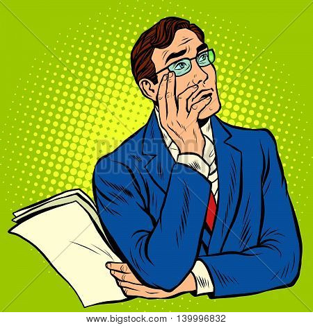 Man the thinker pose pop art retro vector illustration