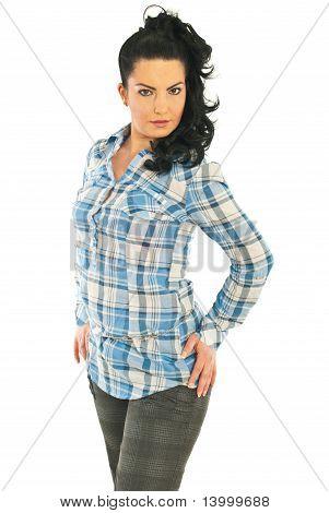 Beautiful Model Woman  In Shirt