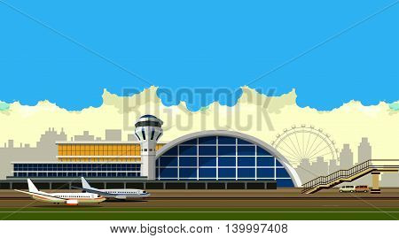vector illustration of the airport building on city background in retro style and colors of the horizontal composition