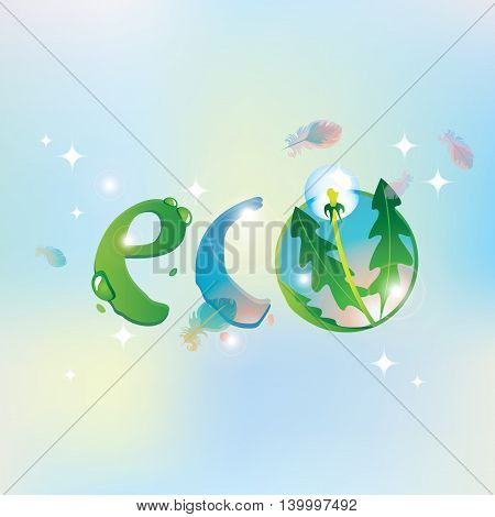 eco inscription on the background of the sky with feathers of birds and dandelion