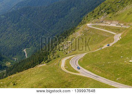 Beautiful mountain road, Transfagarasan highway in a sunny summer day