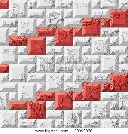 Abstract seamless marble pattern of squares and rectangles. 3d relief background of white and red veined beveled mosaic