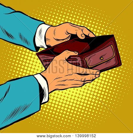 Empty wallet, no money pop art retro vector illustration. Finance and poverty