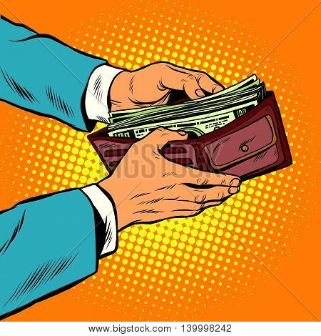 Wallet with cash money, business and Finance pop art retro vector illustration