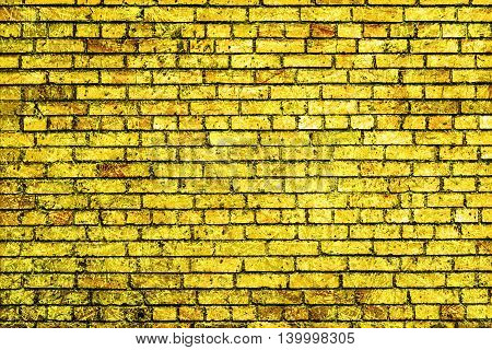 Golden Brick Wall Macro Texture Background Scratched Styled