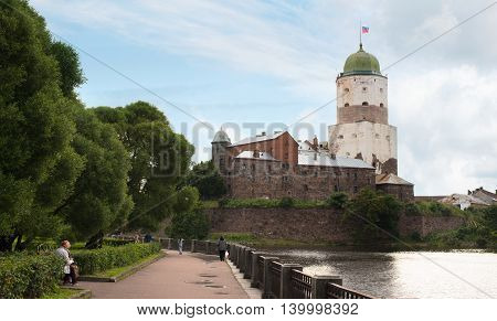 Vyborg, Russia - July 18, 2016: Old Swedish Tower Of St. Olaf