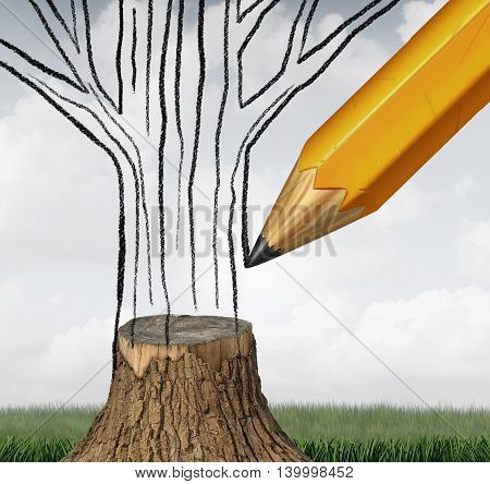 Reforestation and conservation climate as an environmental concept with a pencil drawing the missing part of a cut tree trunk as a symbol for climate change sustainable ecological management with 3D illustration elements.