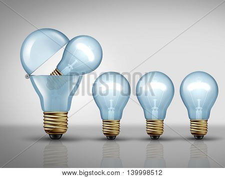 Productivity concept and fertile imagination business symbol as an open light bulb or lightbulb creating smaller lights as a prolific idea creation metaphor or clever manufacturing strategy icon as a 3D illustration.
