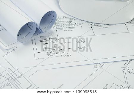 engineering drawing for environmental engineering process to treatment