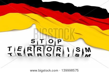 Germany flag and write stop terrorism. 3D rendering.