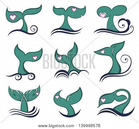 Whale tail icons. Collection of Whale tail symbols