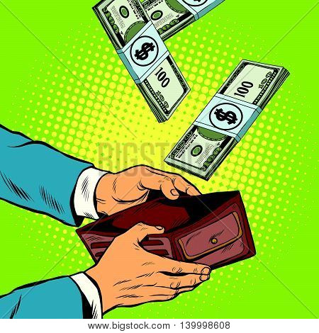 Money falling into wallet, financial profits and wealth, pop art retro vector illustration