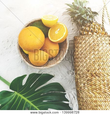 Tropical Fruits Orange Pineapple Beach Concept