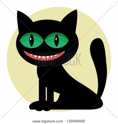 Balack Cat with green eyes abstract silhouette, vector illustration