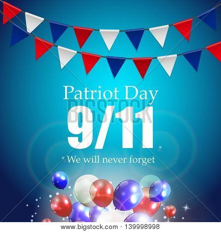Patriot Day Label, We Will Never Forget Vector Illustration EPS10