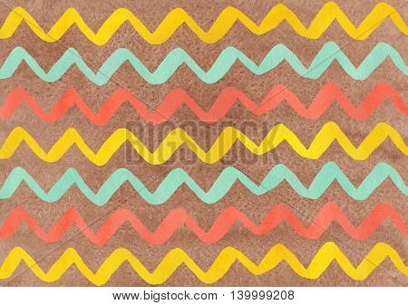 Watercolor Seafoam, Salmon And Yellow Hand Painted Stripes On Brown Background, Chevron